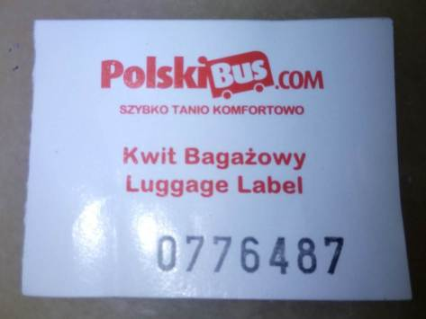Kwit Bagazowy,Luggage Label,polskibus