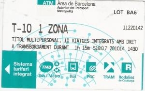 billete t10 barcelona