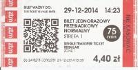 Billete sencillo 75 para tren,tranvía,bus y metro en Varsovia